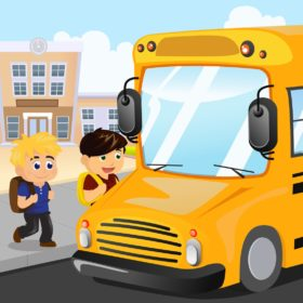 A vector illustration of kids waiting to get on a school bus